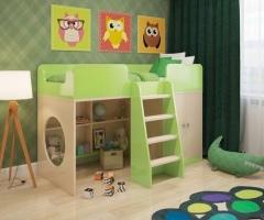 Кровать чердак Зеленая