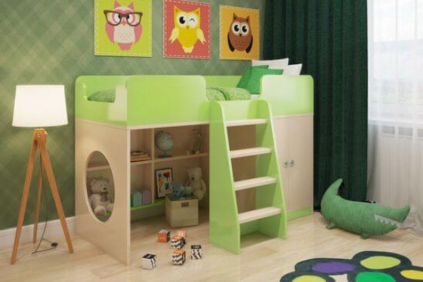 Кровать чердак Зеленая в Санкт-Петербурге с доставкой