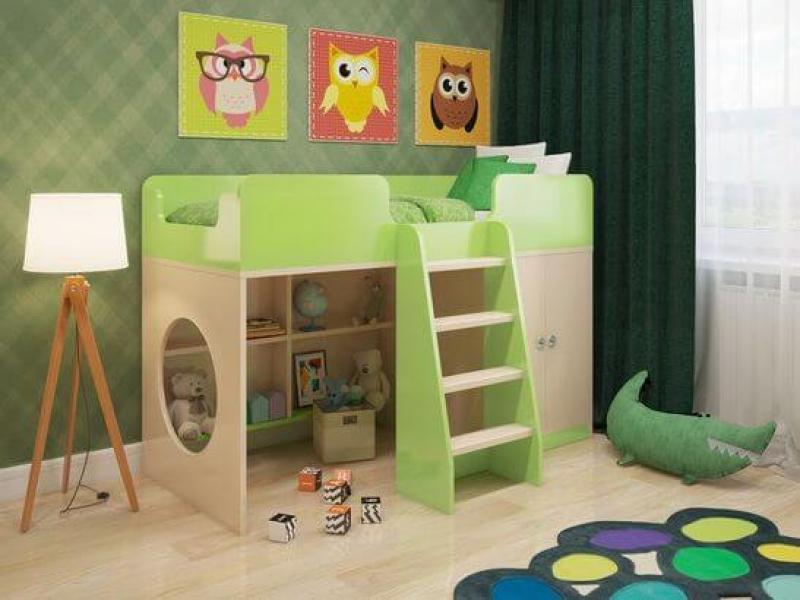 Кровать чердак Зеленая без запаха