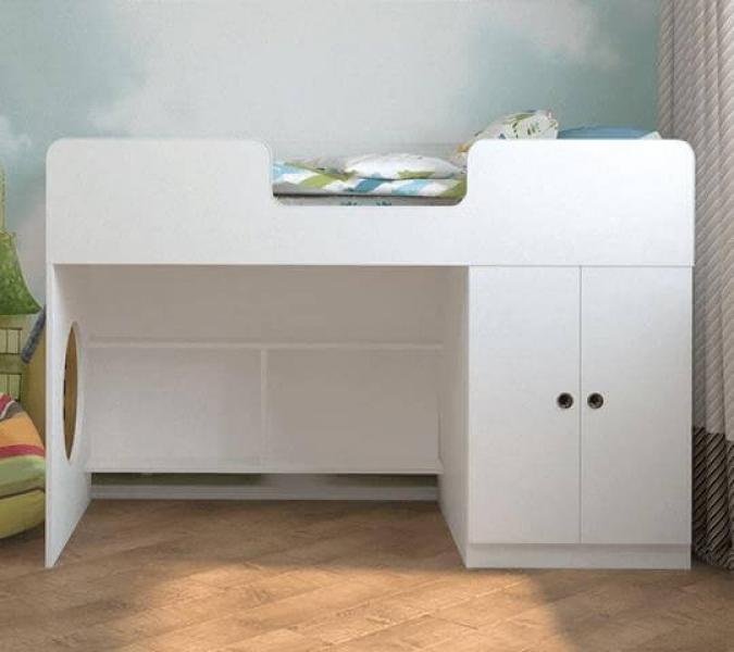 Кровать чердак Белая с кокосовым беспружинным матрасом в комплекте с официальной гарантией