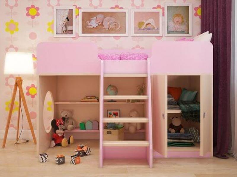Игровая кровать-чердак Розовая с хорошими отзывами