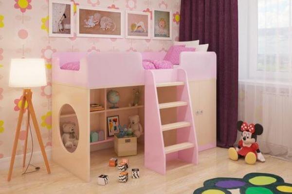 Игровая кровать-чердак Розовая в Санкт-Петербурге с доставкой