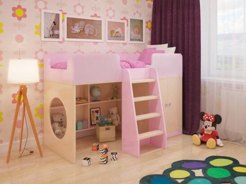 Игровая кровать-чердак Розовая в интернет-магазине