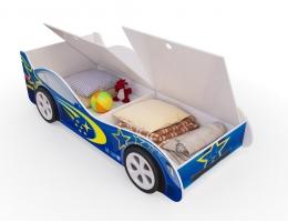 Детская кровать - машина Синяя с ящиками