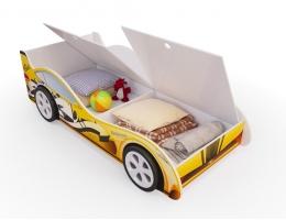 Детская кровать - машина Желтая с ящиками купить в наличии в Санкт-Петербурге