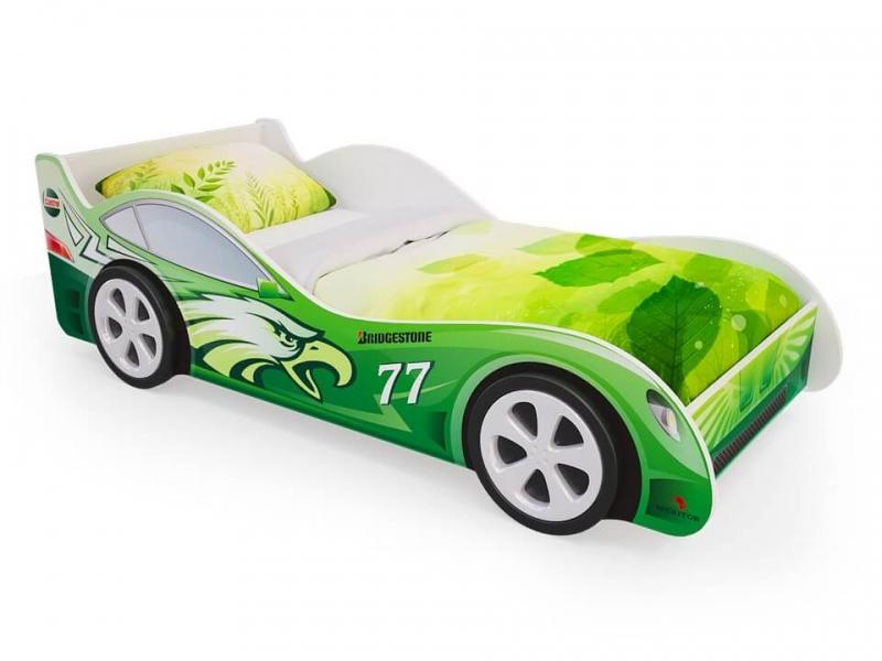 Кровать машинка Зеленая с ящиками с официальной гарантией