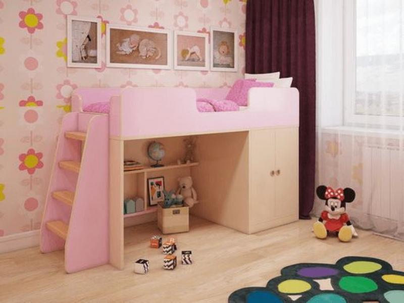 Игровая кровать-чердак Розовая с официальной гарантией