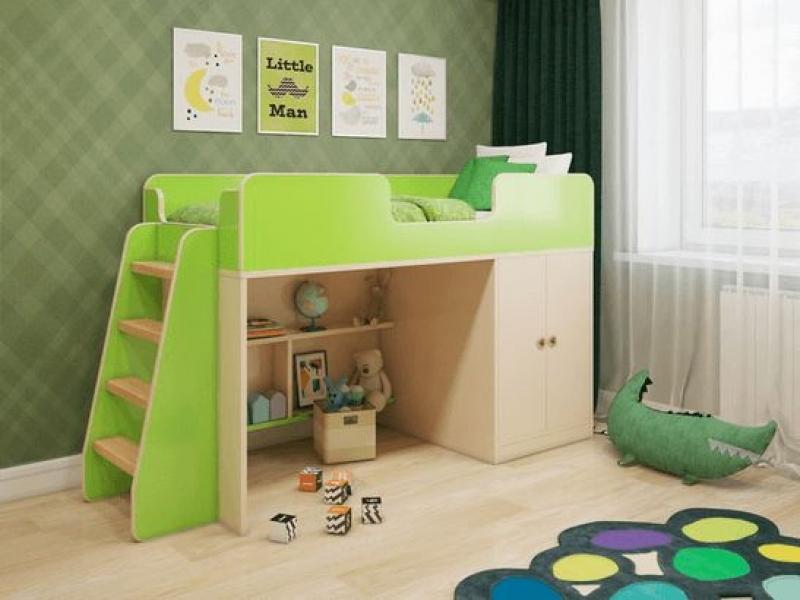 Кровать чердак Зеленая в интернет-магазине