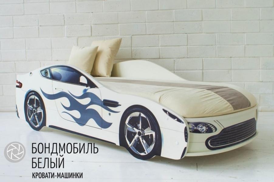 Кровать машина с подъемным механизмом БОНДМОБИЛЬ БЕЛЫЙ с удобной инструкцией