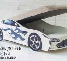 Кровать машина с подъемным механизмом БОНДМОБИЛЬ БЕЛЫЙ