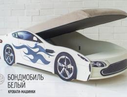 БОНДМОБИЛЬ БЕЛЫЙ кровать - машина с подъемным механизмом и матрасом