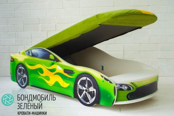 Детская кровать - машина БОНДМОБИЛЬ ЗЕЛЕНЫЙ в Санкт-Петербурге с доставкой