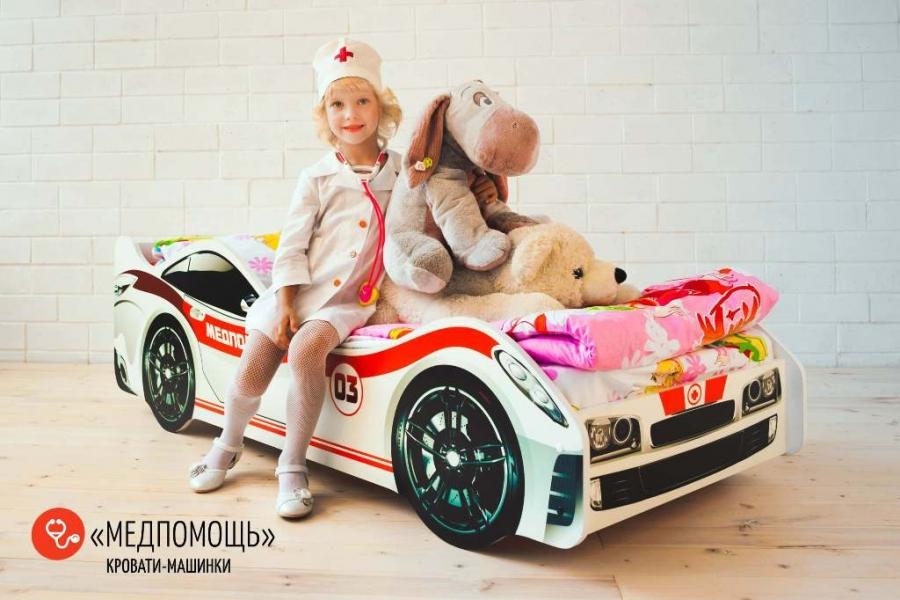 Детская кровать - машина Медпомощь с профессиональной сборкой