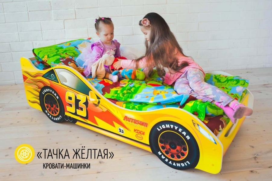 Детская кровать - машина Тачка Желтая с удобной инструкцией