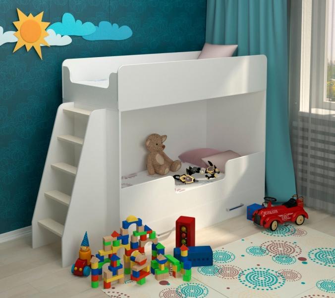 Детская двухъярусная кровать Классическая белая с удобной инструкцией