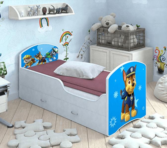 Детская кровать Classic Щенячий патруль с ящиками. Гонщик с профессиональной сборкой
