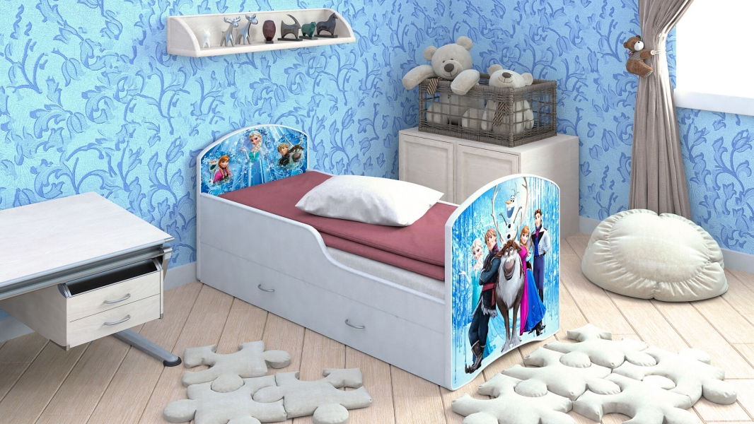 Детская кровать Classic Холодное сердце с ящиками с профессиональной сборкой