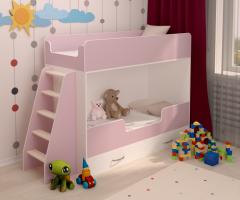 Двухъярусная кровать розовая