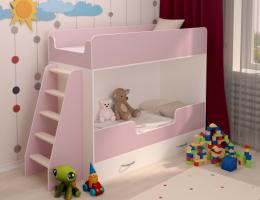 Двухъярусная кровать розовая купить в наличии в Санкт-Петербурге