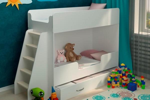Детская двухъярусная кровать Классическая белая в Санкт-Петербурге с доставкой