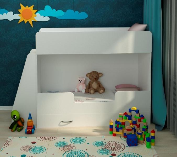 Детская двухъярусная кровать Классическая белая с профессиональной сборкой