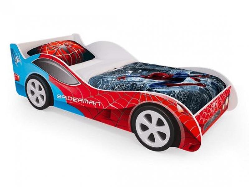Детская кровать - машина SpyderMan (Человек паук) с ящиками для белья с официальной гарантией