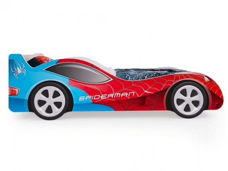 Детская кровать - машина SpyderMan (Человек паук) с ящиками для белья с профессиональной сборкой