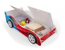 Детская кровать - машина SpyderMan (Человек паук) с ящиками для белья купить в наличии в Санкт-Петербурге