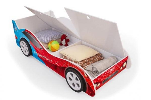 Детская кровать - машина SpyderMan (Человек паук) с ящиками для белья в Санкт-Петербурге с доставкой