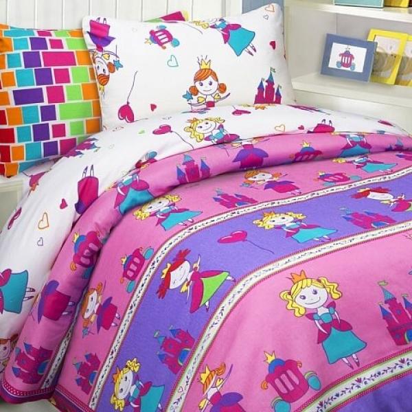 Детское постельное белье Принцессы (бязь, 100% хлопок) с удобной инструкцией