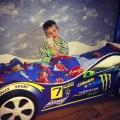 Кровать-машина детская синяя МОЛНИЯ с официальной гарантией