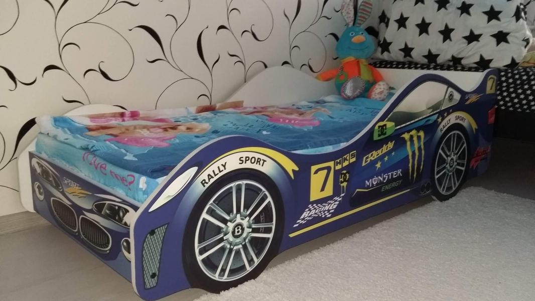 Кровать-машина детская синяя МОЛНИЯ в интернет-магазине