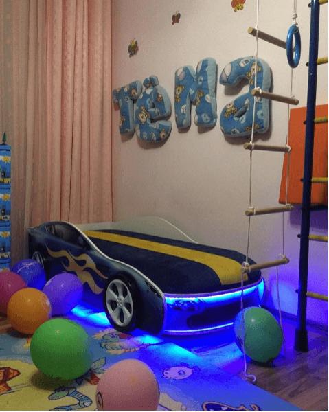 Кровать с подъемным механизмом детская БОНДМОБИЛЬ СИНИЙ по отличной цене